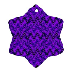 Purple Wavey Squiggles Snowflake Ornament (2 Side) by BrightVibesDesign