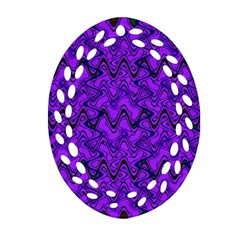 Purple Wavey Squiggles Ornament (oval Filigree)  by BrightVibesDesign