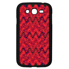 Red Wavey Squiggles Samsung Galaxy Grand Duos I9082 Case (black) by BrightVibesDesign