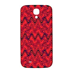 Red Wavey Squiggles Samsung Galaxy S4 I9500/i9505  Hardshell Back Case by BrightVibesDesign