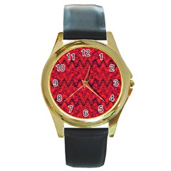 Red Wavey Squiggles Round Gold Metal Watch by BrightVibesDesign