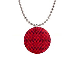 Red Wavey Squiggles Button Necklaces by BrightVibesDesign