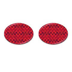 Red Wavey Squiggles Cufflinks (oval) by BrightVibesDesign