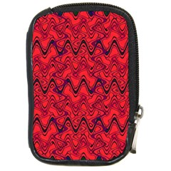 Red Wavey Squiggles Compact Camera Cases