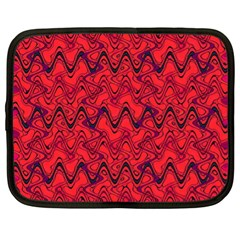 Red Wavey Squiggles Netbook Case (xl)  by BrightVibesDesign
