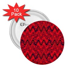 Red Wavey Squiggles 2 25  Buttons (10 Pack)