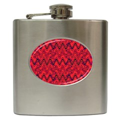 Red Wavey Squiggles Hip Flask (6 Oz) by BrightVibesDesign