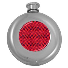 Red Wavey Squiggles Round Hip Flask (5 Oz) by BrightVibesDesign