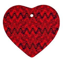 Red Wavey Squiggles Heart Ornament (2 Sides) by BrightVibesDesign