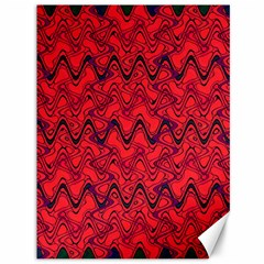 Red Wavey Squiggles Canvas 36  X 48   by BrightVibesDesign