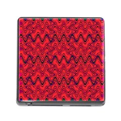 Red Wavey Squiggles Memory Card Reader (square) by BrightVibesDesign