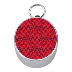 Red Wavey Squiggles Mini Silver Compasses by BrightVibesDesign