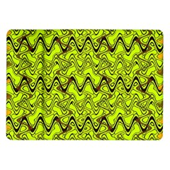 Yellow Wavey Squiggles Samsung Galaxy Tab 10 1  P7500 Flip Case by BrightVibesDesign