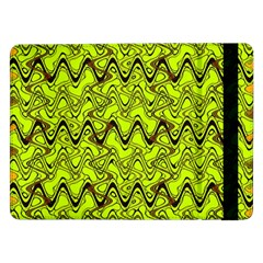Yellow Wavey Squiggles Samsung Galaxy Tab Pro 12 2  Flip Case by BrightVibesDesign
