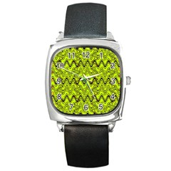 Yellow Wavey Squiggles Square Metal Watch by BrightVibesDesign