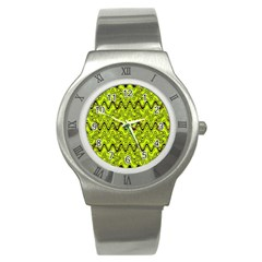 Yellow Wavey Squiggles Stainless Steel Watch by BrightVibesDesign