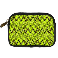 Yellow Wavey Squiggles Digital Camera Cases by BrightVibesDesign