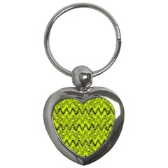 Yellow Wavey Squiggles Key Chains (heart)