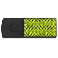 Yellow Wavey Squiggles Usb Flash Drive Rectangular (4 Gb)  by BrightVibesDesign