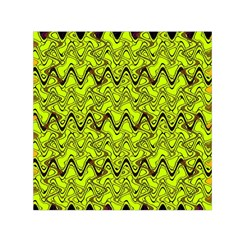 Yellow Wavey Squiggles Small Satin Scarf (square)  by BrightVibesDesign