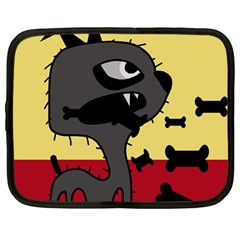Angry Little Dog Netbook Case (large) by Valentinaart