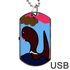 Sea Monster Dog Tag Usb Flash (one Side) by Valentinaart