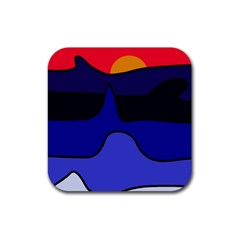 Waves Rubber Square Coaster (4 Pack)