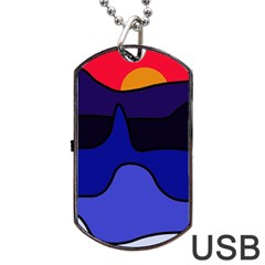 Waves Dog Tag Usb Flash (one Side) by Valentinaart