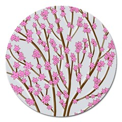 Cherry Tree Magnet 5  (round) by Valentinaart