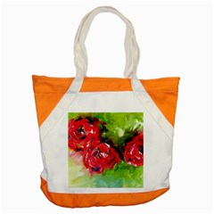 Floral  Red On Green Accent Tote Bag by artistpixi