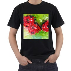 Floral  Red On Green Men s T-shirt (black) by artistpixi