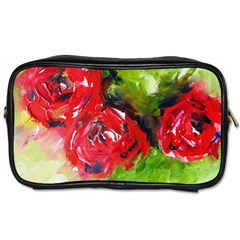 Floral  Red On Green Toiletries Bags 2 Side by artistpixi