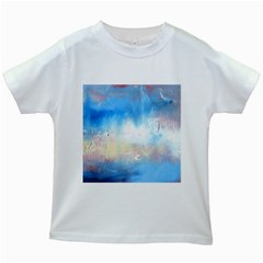 Abstract Blue And White Art Print Kids White T Shirts by artistpixi
