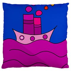 Boat Large Cushion Case (two Sides) by Valentinaart
