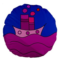 Boat Large 18  Premium Flano Round Cushions by Valentinaart