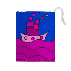 Boat Drawstring Pouches (large)  by Valentinaart