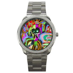Colorful Goat Sport Metal Watch by Valentinaart