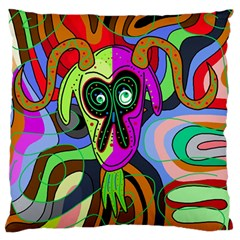 Colorful Goat Large Flano Cushion Case (one Side) by Valentinaart