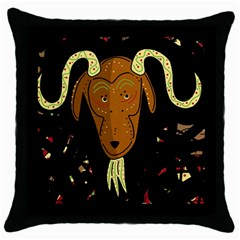 Billy Goat 2 Throw Pillow Case (black) by Valentinaart