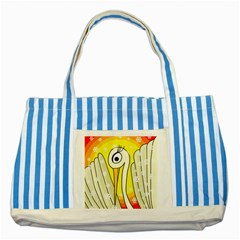 Crane Striped Blue Tote Bag by Valentinaart