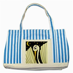Crane 2 Striped Blue Tote Bag by Valentinaart
