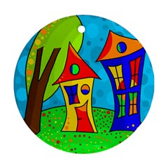 Two Houses  Ornament (round)  by Valentinaart