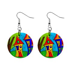 Two Houses  Mini Button Earrings by Valentinaart