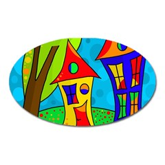 Two Houses  Oval Magnet by Valentinaart