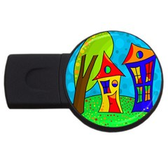 Two Houses  Usb Flash Drive Round (4 Gb)  by Valentinaart
