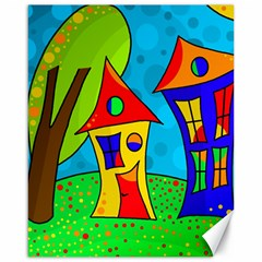 Two Houses  Canvas 16  X 20   by Valentinaart