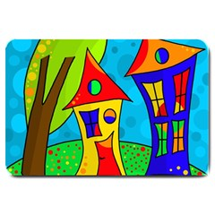 Two Houses  Large Doormat  by Valentinaart