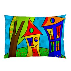Two Houses  Pillow Case by Valentinaart