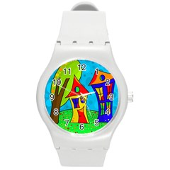 Two Houses  Round Plastic Sport Watch (m) by Valentinaart
