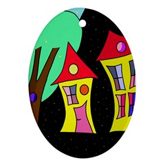 Two Houses 2 Ornament (oval)  by Valentinaart